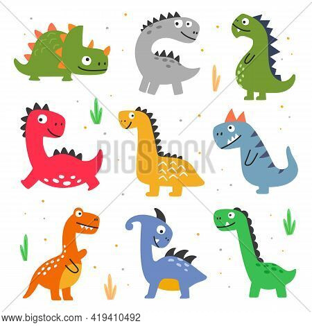 Vector Illustration Of Set Of Various Types Of Dinosaurs On White Isolated Background