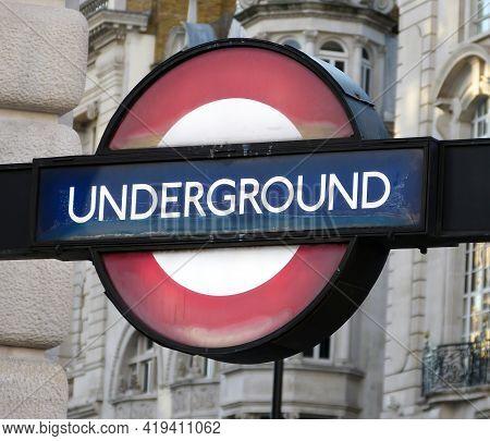 London - England, Uk -  June 29, 2014: Subway Sign On The Street Of London. London Underground Sign
