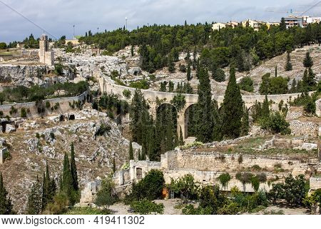 Gravina In Puglia, With The Roman Two-level Bridge That Extends Over The Canyon. Apulia, Bari, Italy