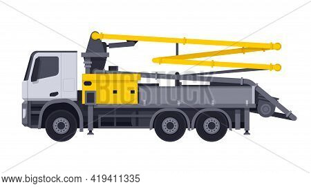 Concrete Pump Truck - Machine Used For Transferring Liquid Concrete By Pumping That Attached To Truc