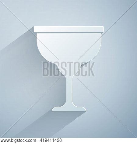 Paper Cut Jewish Goblet Icon Isolated On Grey Background. Jewish Wine Cup For Kiddush. Kiddush Cup F