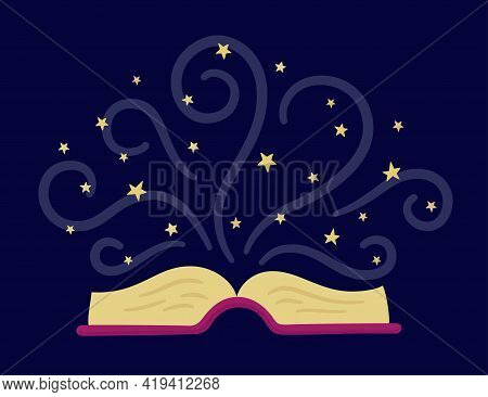 Open Paper Book And Stars As Symbol Imagination And Fantasy. Story Tale Old Book. Vector Illustratio