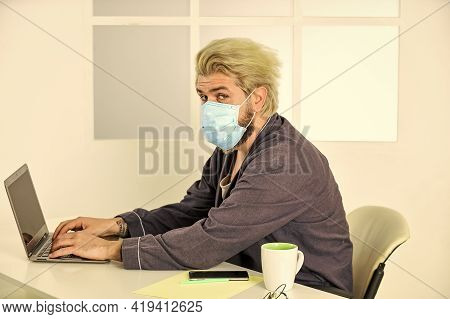 Remote Job. Limit Spread Disease. Remote Communication. Social Distancing. Man Freelancer Working On