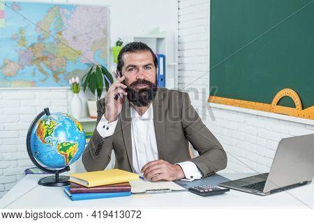Back To School. Happy Teachers Day. Brutal Man With Beard Wear Costume. Informal Education. Male Stu