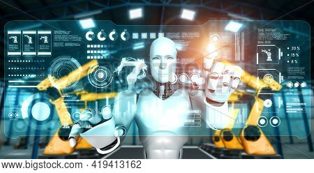 Mechanized Industry Robot And Robotic Arms For Assembly In Factory Production . Concept Of Artificia