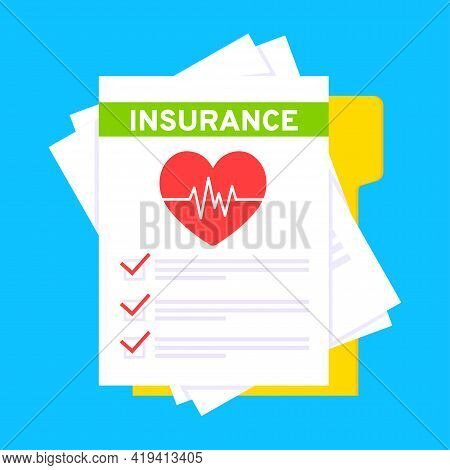 Medical Insurance Claim Form With File Paper Sheets Flat Style Design Vector Illustration. Concept O