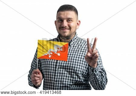 White Guy Holding A Flag Of Butane And Shows Two Fingers Isolated On A White Background.