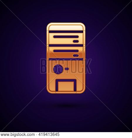 Gold Computer Icon Isolated On Black Background. Pc Component Sign. Vector