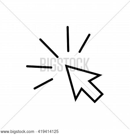 Computer Mouse Click Cursor Black Arrow Line Icon. Simple Element. Trendy Flat Isolated Symbol Sign