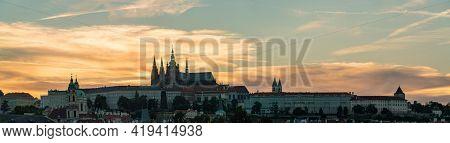 Panorama of evening Prague. Panorama of evening Prague.