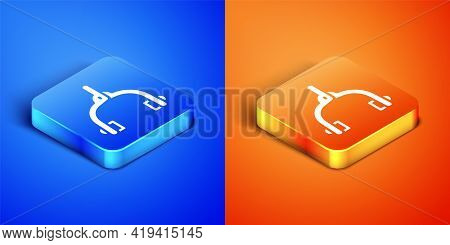 Isometric Bicycle Brake Calipers Dual Pivot Icon Isolated On Blue And Orange Background. Bicycle Bra
