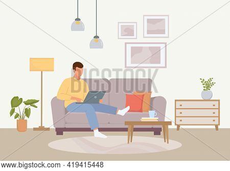 Convenient Work At Home Illustration. Male Character Sitting With Laptop Cozy Soft Purple Sofa Calm