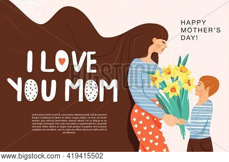 Happy Mother's Day Greeting Banner. Mother With Her Son. Son Giving To His Mother Bouquet Of Narciss