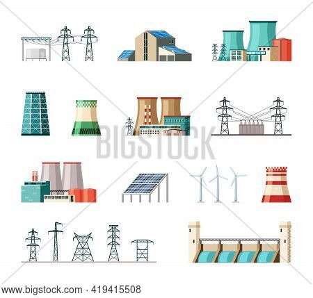 Industrial And Ecological Electric Power Installations Set. Powerful Structures Pipes Fueled Nuclear