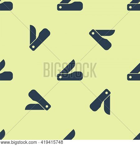 Blue Swiss Army Knife Icon Isolated Seamless Pattern On Yellow Background. Multi-tool, Multipurpose