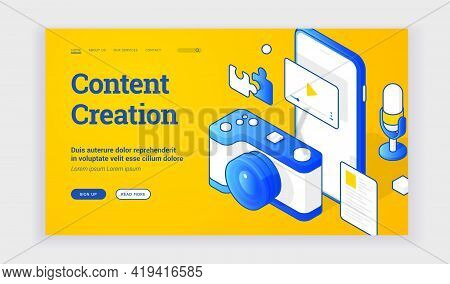 Vector Illustration Of Camera And Smartphone With Video Representing Content Creation Industry Near