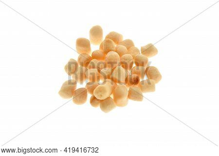 Close Up View Of White Boilies, Fishing Baits For Carp Isolated On White Background