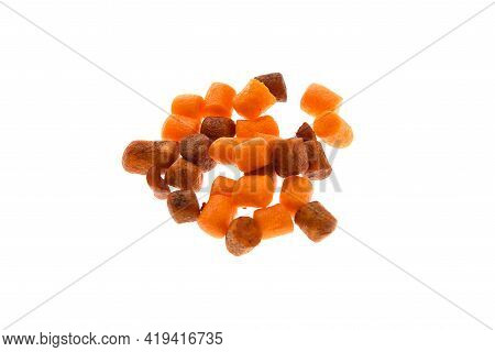 Close Up View Of Brown And Orange Boilies, Fishing Baits For Carp Isolated On White Background