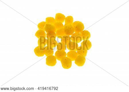 Close Up View Of Yellow Boilies, Fishing Baits For Carp Isolated On White Background