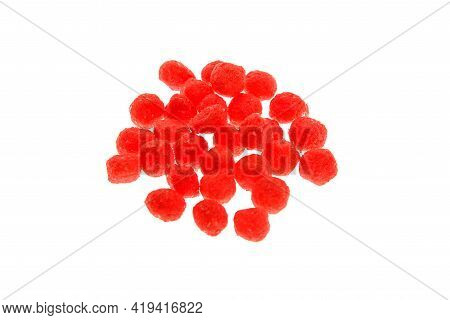 Close Up View Of Red Boilies, Fishing Baits For Carp Isolated On White Background