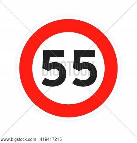 Speed Limit 55 Round Road Traffic Icon Sign Flat Style Design Vector Illustration Isolated On White