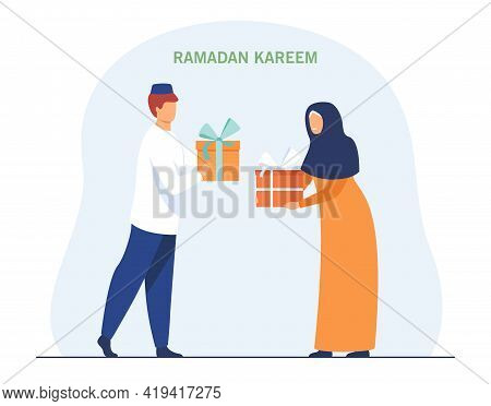 Muslims Congratulating Each Other On Beginning Of Fast. Flat Vector Illustration. Man And Woman Exch