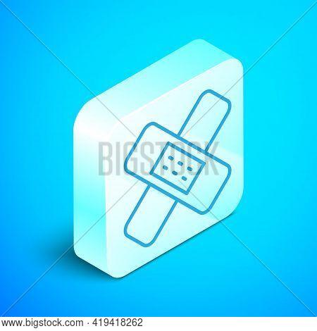 Isometric Line Crossed Bandage Plaster Icon Isolated On Blue Background. Medical Plaster, Adhesive B
