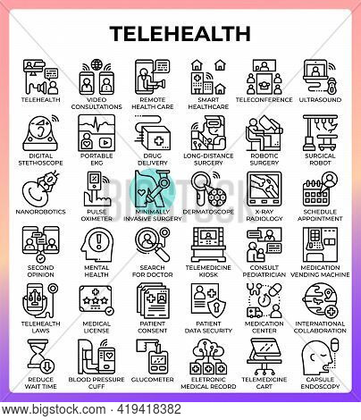 Telehealth Concept Line Icons Set In Modern Style For Ui, Ux, Web, App, Brochure, Flyer And Presenta