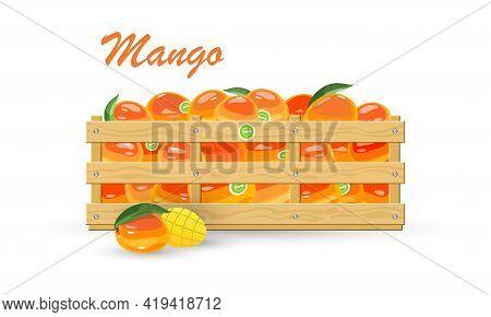 Cartoon Of Wooden Box Full Of Mellow Exotic Fruit Mango, Vegetarian Food, Sliced Product Near Contai