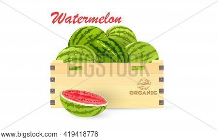 Cartoon Of Wooden Box With Summer Fruit, Slice Of Watermelon Near Container. Vector Crop Transportat