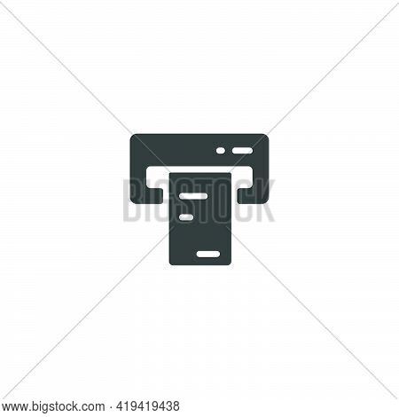 Ticket Vending Machine On White Background. Insert And Purchase. Isolated Icon. Commerce Glyph Vecto