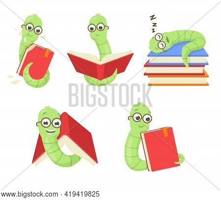Set Of Cute Cartoon Bookworms. Vector Illustration. Funny, Sleepy, Hungry, Gloomy, Happy, Smiling Gr