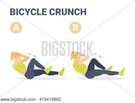 Girl Doing Bicycle Criss Cross Crunch Abs Exercise Colorful Concept Illustration.