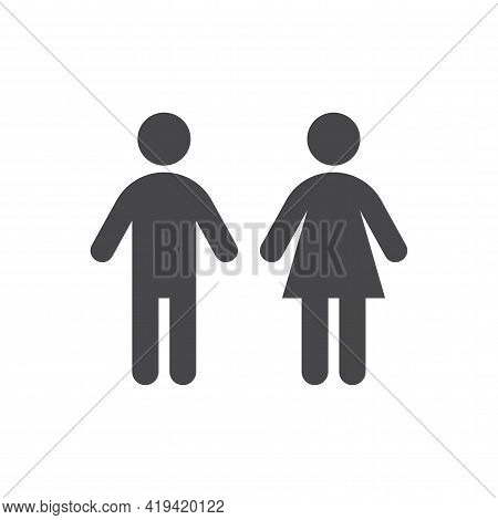 Man And Woman Toilet Black Vector Icon. Men, Women, Lady And Gentlemen Body Figure Wc Symbols.