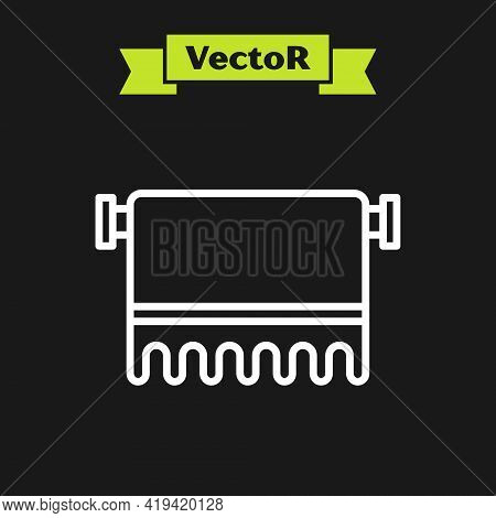 White Line Towel On Hanger Icon Isolated On Black Background. Bathroom Towel Icon. Vector
