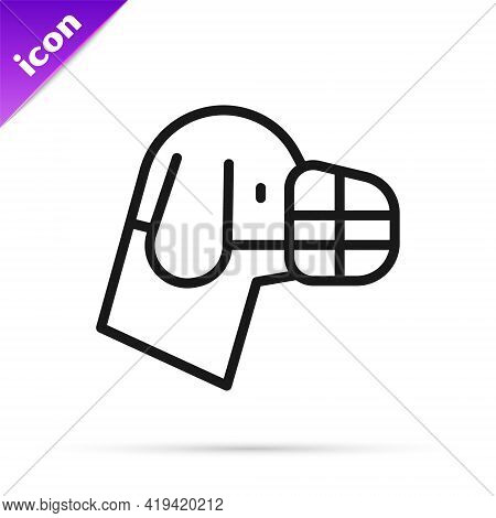 Black Line Dog In Muzzle Icon Isolated On White Background. Accessory For Dog. Vector
