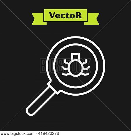 White Line Flea Search Icon Isolated On Black Background. Vector