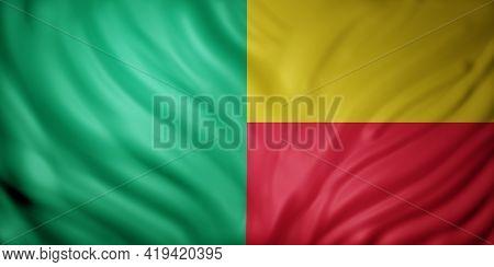 3d Rendering Of A National Benin Flag.