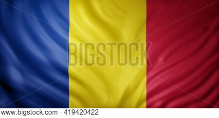 3d Rendering Of A National Chad Flag.