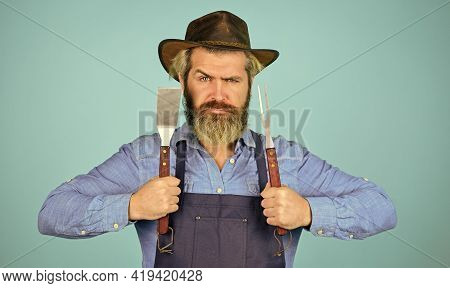 Medium Rare. Bbq Food. Tools Roasting Meat. Man In Apron Hold Barbecue Grill. Farmer Promoting Bbq E