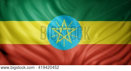 3d Rendering Of A National Ethiopia Flag.