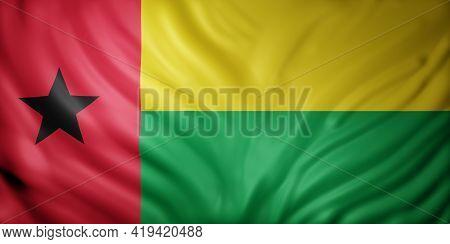 3d Rendering Of A National Equatorial Guinea-bissau Flag.