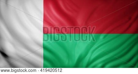 3d Rendering Of A National Madagascar Flag.