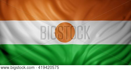3d Rendering Of A National Niger Flag.