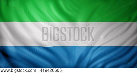 3d Rendering Of A National Sierra Leone Flag.