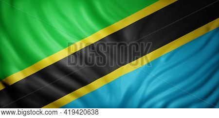 3d Rendering Of A National Tanzania Flag.