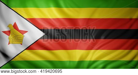 3d Rendering Of A  National Zimbabwe Flag.