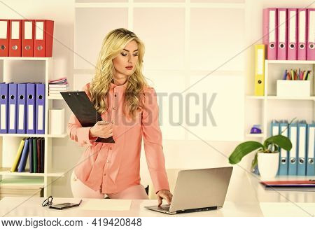 Insurance Agent Ready To Help. Independent Insurance Agent. Pretty Woman Working Office Interior Bac