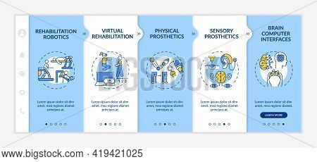 Rehabilitation Engineering Use Onboarding Vector Template. Responsive Mobile Website With Icons. Web