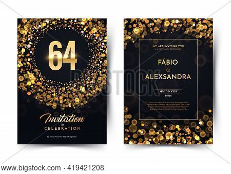 64th Years Birthday Vector Black Paper Luxury Invitation Double Card. Sixty Four Years Wedding Anniv